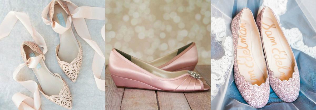 buty ślubne pudrowy róż baleriny