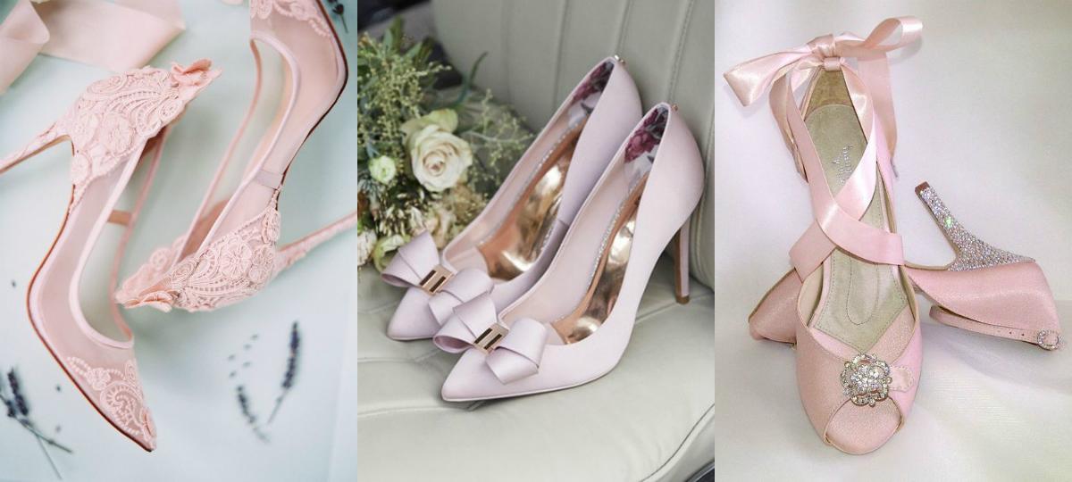 buty ślubne pudrowy róż szpilki