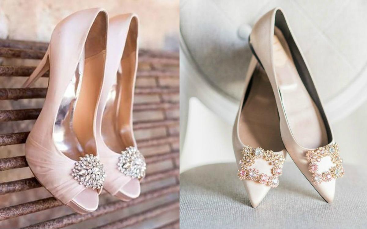 buty ślubne pudrowy róż